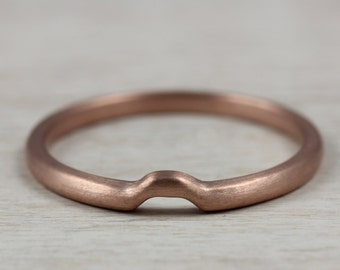 READY TO SHIP Octagon Contour Band; 14k Rose Gold; Size 6.25 - Recycled Gold Shadow Band, Modern Wedding