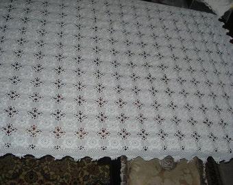 Handmade Crochet tablecloth -Doily Runner, Crochet Tablecloth LONG Rectangle, White Crochet Lace Bedroom Curtain, Unique Crochet Item
