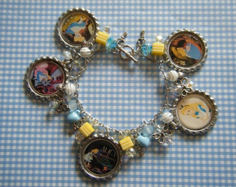 Alice in Wonderland bottle cap and other charms Wonderland charm bracelet