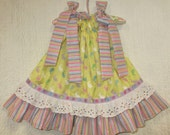Girls Easter Dress 12M/18M Easter Bunny Yellow Purple Pink Stripes Flower Boutique Handmade Pillowcase Dress Pillow Case Dress Sundress