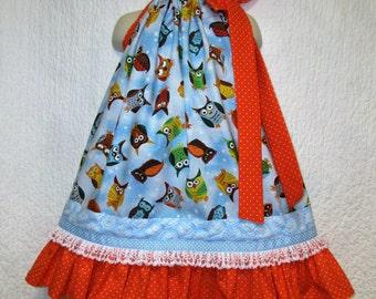 Girls Dress 3T/4T Owls Blue Orange Boutique Pillowcase Dress, Pillow Case Dress, Sundress