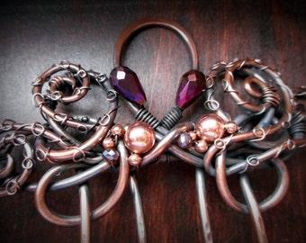 """Octopus Hair Comb, 4"""" functional length for long hair, hair pin, nautical, hair clip, woman, hair accessories, steampunk, fantasy"""