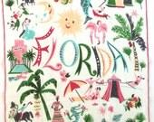 RARE Vintage FLORIDA Handkerchief Carl Tait Hankie
