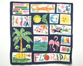 Vintage Handkerchief FLORIDA Souvenir Hankie Carl Tait RARE