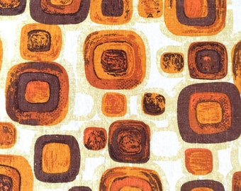 Vintage Barkcloth Fabric Abstract Squares Eames 5th Avenue Designs Screenprint 1970s Boho Decor