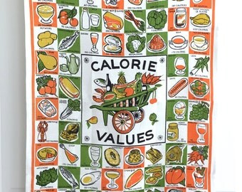 Vintage Tea Towel Calorie Values Diet Food Lover Gift
