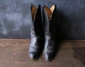 Leather Cowboy Boots Western Womens 5.5 Black BootsVintage 80s From Nowvintage on Etsy