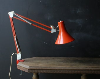 Vintage Extension Lamp Pixar Lamp Articulated Lamp Orange Desk Lamp Mid Century Industrial Vintage From Nowvintage on Etsy