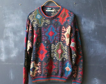 Vintage Mens Sweater Colorful Tribal Geometric Pattern Size L  Hamacher Schlemmer From Nowvintage on Etsy