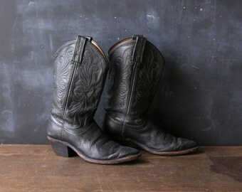 Womens Black Leather Cowboy Western Boots Vintage 80s From Nowvintage on Etsy