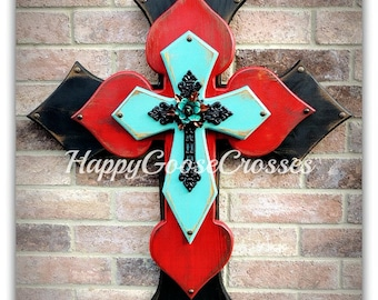 Wall CROSS - Wood Cross - X-Large - Antiqued Black, Red, & Turquoise with iron cross and turquoise iron rose