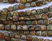 Mosaic Red Creek Jasper Amazing Colorful Square Beads 10mm - One Strand