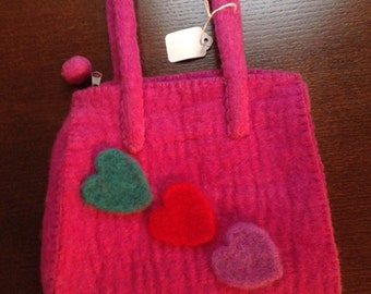 Heart felted purse -free shipping