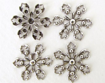 Antiqued Silver Ox Charm Snowflake Filigree Flower Connector Link Metal Finding 20mm flg0079 (4)