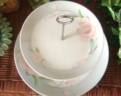 Victorian Rose by Saltera 1985 Himark two tier Cake Plate Tray