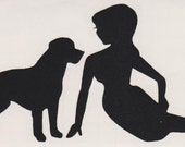 Labrador and Pin Up Silhouette, Black Vinyl Decal