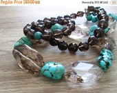 SALE Chunky Turquoise Brown Quartz Double Strand  Beaded Necklace , Statement Choker