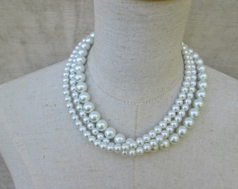 Handmade Triple Strand Twisted Pearl Necklace, Wedding Party Jewelry, Cream Layered Pearls, Bridal Pearl necklace
