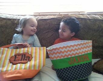 Halloween trick or treat bag, trick or treat bucket, Personalized halloween basket