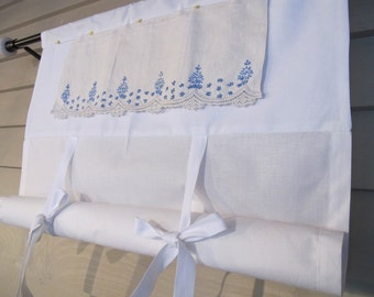 Vintage Embroidery in Blue Tie Up Shade Custom Made to Order Lace Trim Tie Up Curtain Swag Balloon