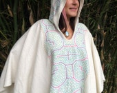 Alpaca Poncho with Authentic Shipibo Embroidery - One of a kind - Shipibo Clothing - Hand Embroidered -Tribal Fusion - Brown