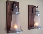Lighthouse pair wall decor (2), nautical lanterns,  wall sconces, housewarming gift,  wrought iron hook, rustic wood boards