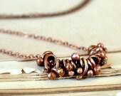 Copper bones necklace, raw copper necklace, rustic necklace - Bones