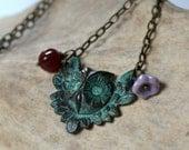 Verdigris owl charm necklace, brass owl necklace - Wings of Wisdom