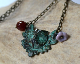 Verdigris owl charm necklace, brass owl necklace - Wings of Wisdom