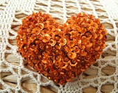 Bright Halloween Orange  Heart Shaped Felt Pin
