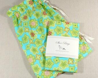 Shoe Bags, Mod, Aqua, Lime, Coral, Floral, Travel, Lingerie, Drawstring bag, Sale