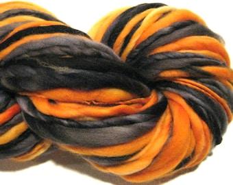 Handspun Yarn Happy Halloween 100 yards black yarn orange yarn hand dyed merino wool knitting supplies  waldorf doll hair knitting supplies