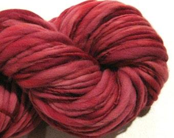 Handspun Yarn Almost Solid Cranberry 140 yards hand dyed merino wool raspberry red yarn waldorf doll hair knitting supplies crochet supplies