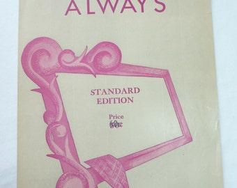 Irving Berlin, Always, Vintage Sheet Music, Standard Edition, Vintage 1925, Vintage Music, Sheet Music, Collectible, Popular Music, Classic