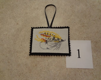 Fishing lure- ornament/magnet -cross stitched #1