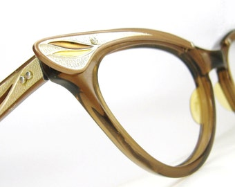 Vintage 50s Cat eye Glasses Eyeglasses or Sunglasses Frame Winged Accents