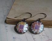 Vintage Czech Glass Button Earrings Repurposed Jewelry Aurora Borealis Coating