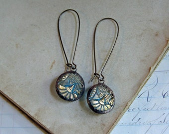 Gold Blue Glass Button Earrings  Recycled Jewelry