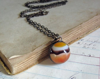 Glass Marble Orange Pendant, One of a Kind Repurposed Jewelry, Under 20 Gift