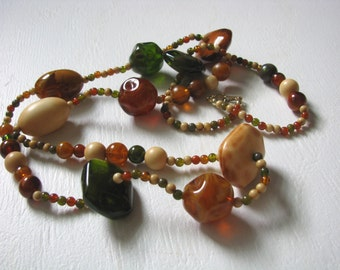 Vintage multi color beaded necklace in fall colors