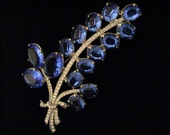 Huge Sapphire Blue & Crystal Rhinestone Pot Metal Statement Brooch