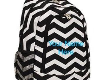 Backpack Personalized Black Chevron Print