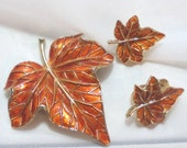 Crown Trifari Vintage Enamel Autumn Leaf Pin Set