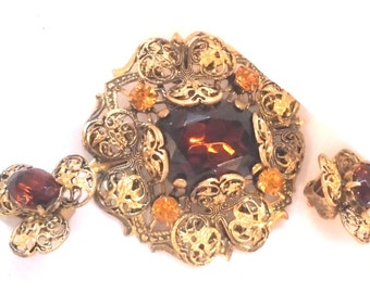 Vintage West Germany Pin and Earrings with Shades of Amber Rhinestones