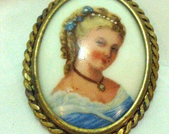 Limoges Porcelain Portrait Pin with Trumpet Clasp Made In France