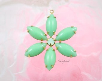 Jadeite Green & Chrysolite Opal Flower Pendant with Vintage Stones in Brass Setting 35mm