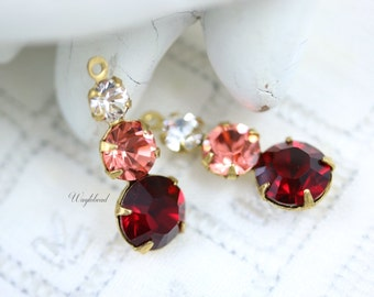 Swarovski Dangles Round Set Stones 1 Ring Earring Charms 23mm Brass Prong Settings Crystal Peach & Ruby Red - 2