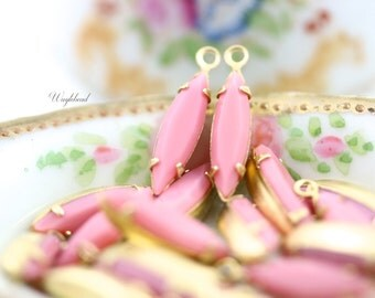 Vintage Glass Faceted Navette Stones 1 Ring Brass Settings Earring Drops Set Stones 15x4mm Opaque Pink - 6