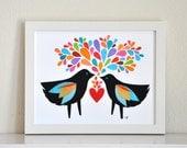 Blackbirds In Love - 8x10 Fine Art Print by Megan Jewel Designs