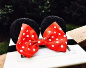 Baby Minnie Shimmer Ears Girls Stretch Headband Red Polka Dot Bow Mouse Ears Band Photography Prop